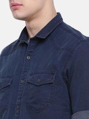 t-base Indigo Solid Cotton Casual Shirt