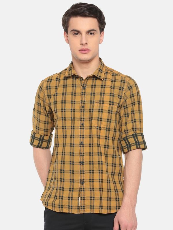 t-base Yellow Checkered Cotton Casual Shirt