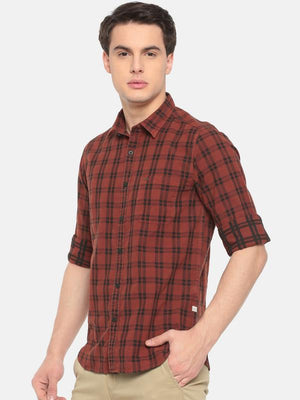 t-base Orange Checkered Cotton Casual Shirt