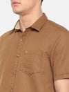 t-base Khaki Solid Cotton Linen Casual Shirt