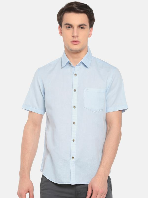 t-base Blue Solid Cotton Linen Casual Shirt