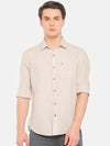 t-base Beige Solid Cotton Linen Casual Shirt