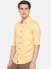 t-base Peach Solid Cotton Linen Casual Shirt