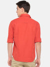 t-base Orange Solid Cotton Linen Casual Shirt