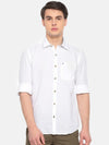 t-base White Solid Cotton Linen Casual Shirt