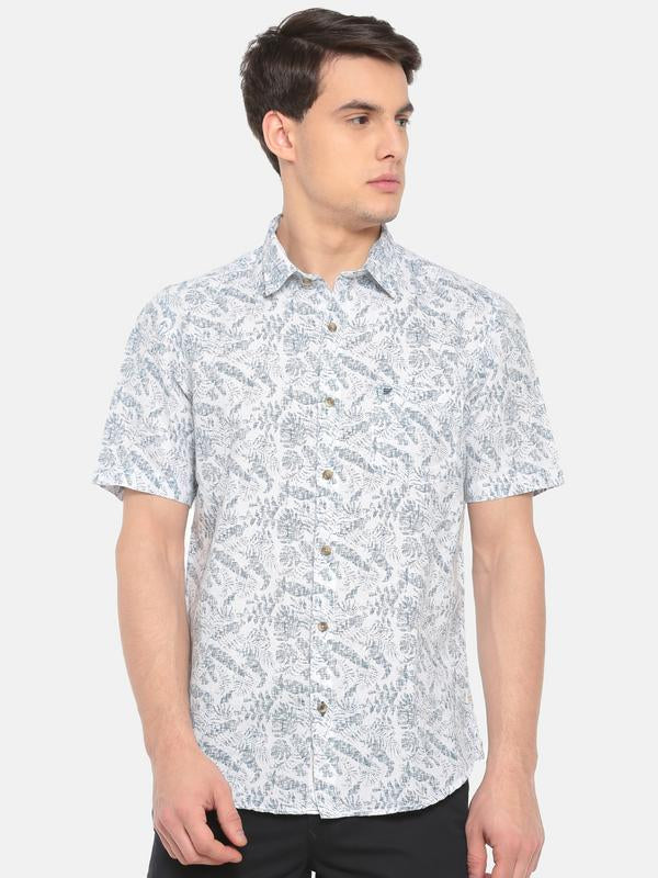 t-base Blue Printed Cotton Linen Casual Shirt