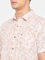 t-base Orange Printed Cotton Linen Casual Shirt