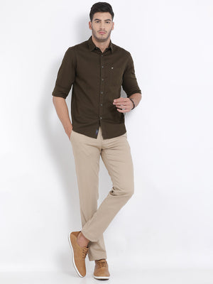 t-base Olive Solid Cotton Casual Shirt