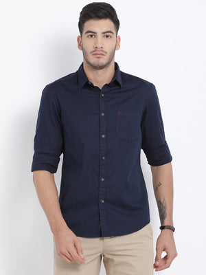 t-base Navy Solid Cotton Casual Shirt