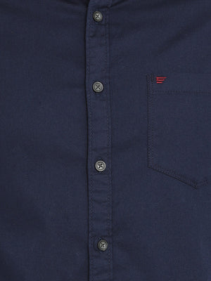 Navy Solid Cotton Casual Shirt