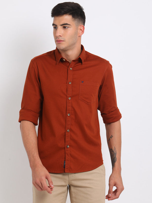 t-base Rust Solid Cotton Casual Shirt