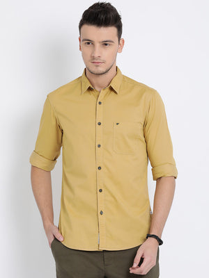 t-base Khaki Solid Cotton Casual Shirt