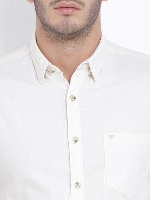 t-base Cream Solid Cotton Casual Shirt