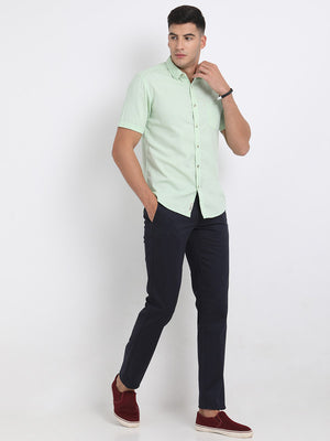 t-base Lime Green Solid Cotton Casual Shirt