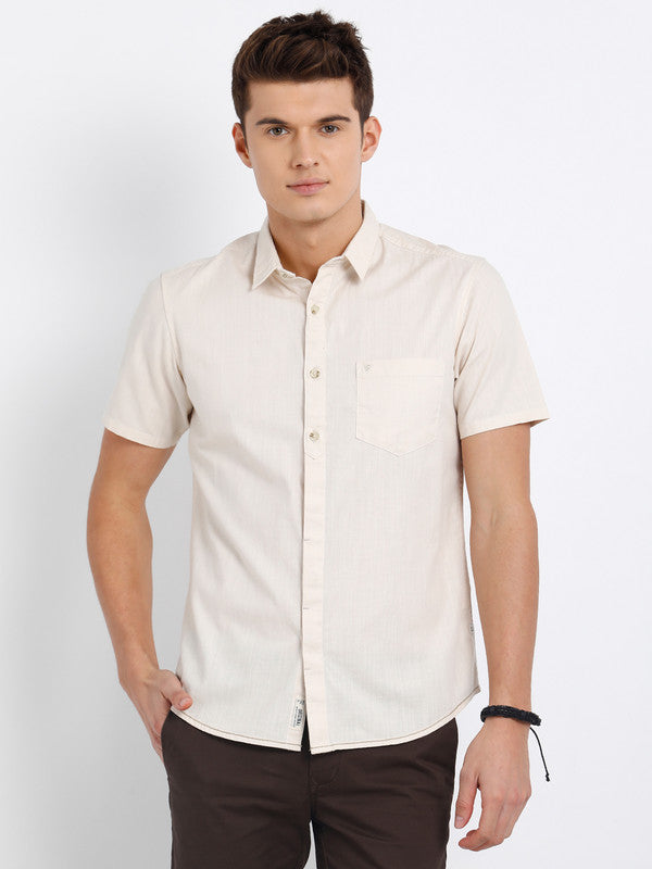 t-base Beige Solid Cotton Casual Shirt