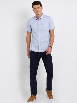 t-base Light Blue Solid Cotton Casual Shirt
