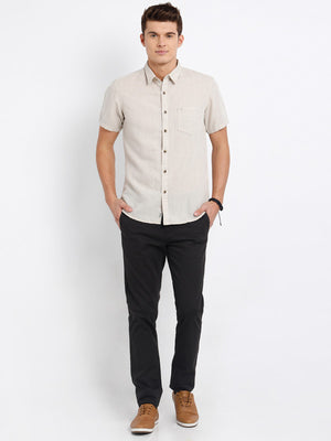 t-base Off White Solid Cotton Casual Shirt