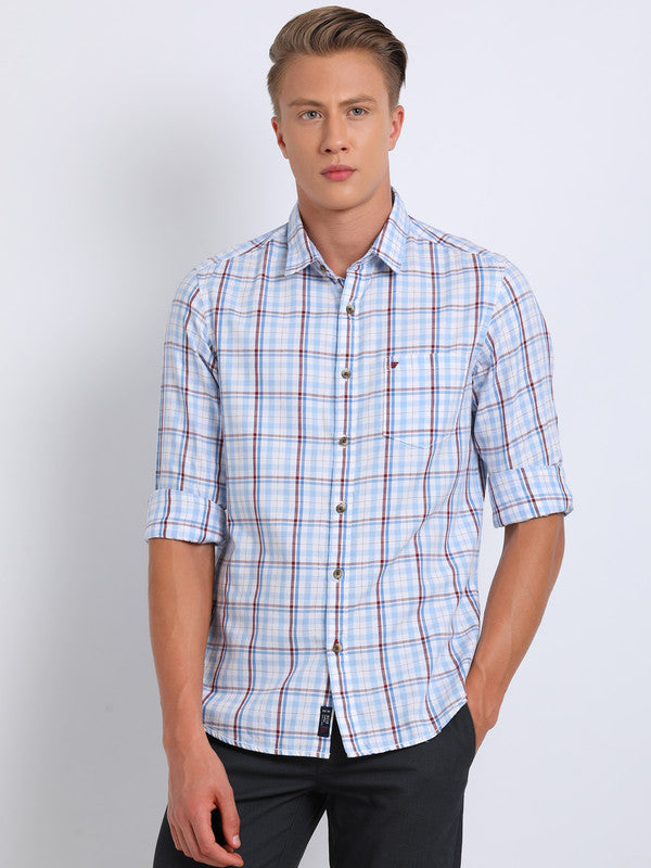 t-base Light Blue Checkered Cotton Casual Shirt