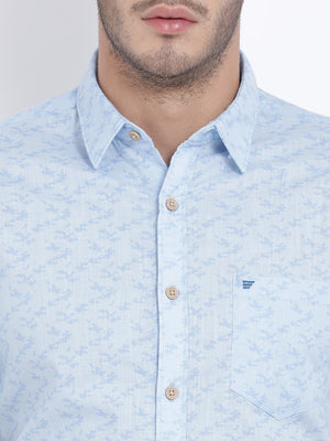 t-base Light Blue Printed Cotton Casual Shirt