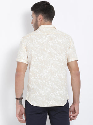 t-base Beige Printed Cotton Casual Shirt