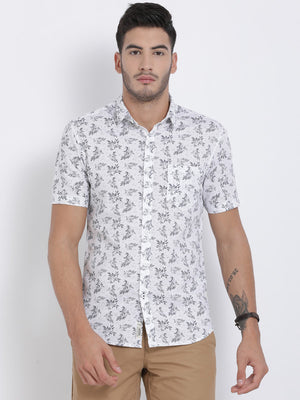 t-base White Printed Cotton Casual Shirt