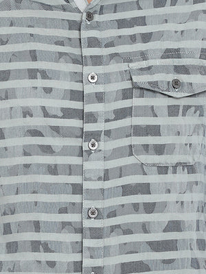 t-base Grey Striped Cotton Casual Shirt