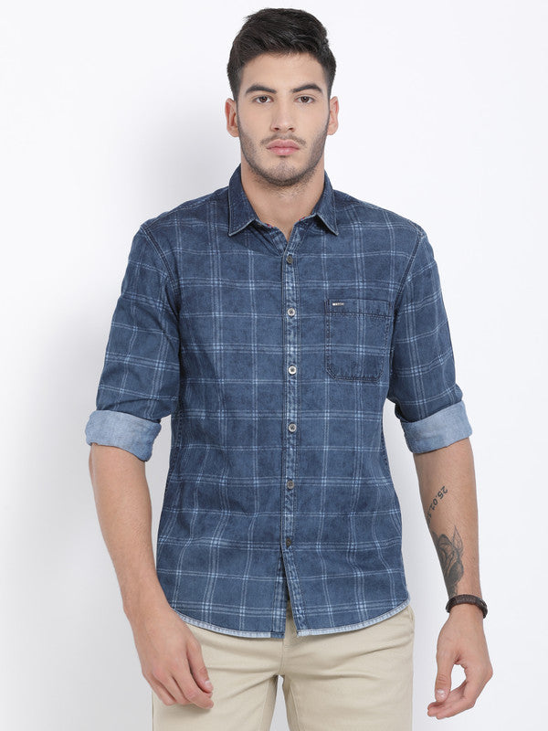 t-base Navy Checkered Cotton Casual Shirt