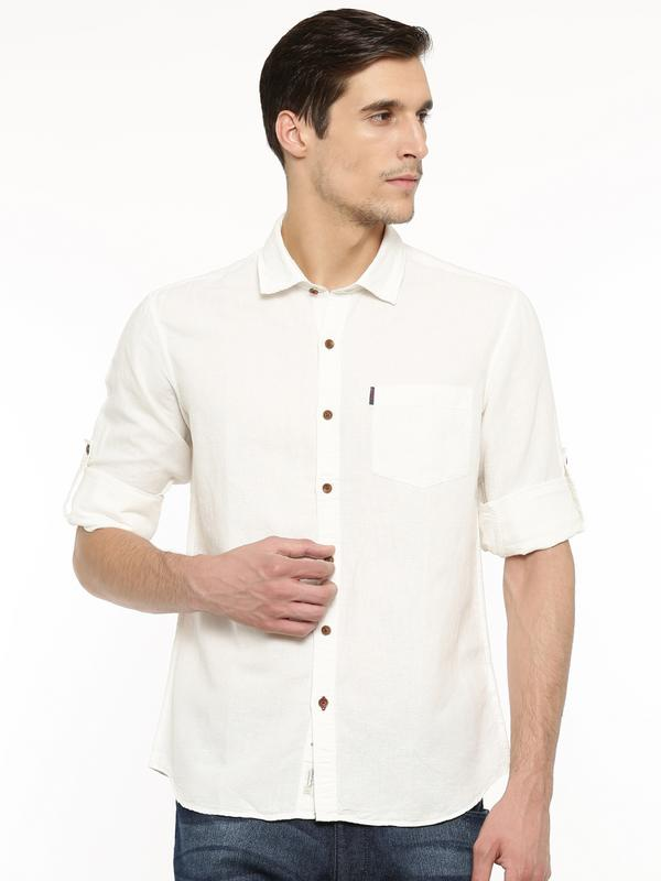 Cotton linen solid shirt - tbase