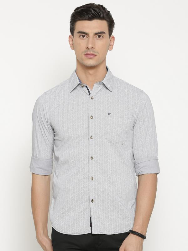 t-base Grey Solid Cotton Casual Shirt