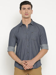 t-base Blue Self Design Cotton Casual Shirt