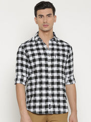 t-base Black Checked Cotton Casual Shirt