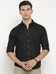 t-base Black Solid Cotton Casual Shirt