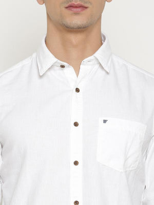t-base White Solid Cotton Casual Shirt