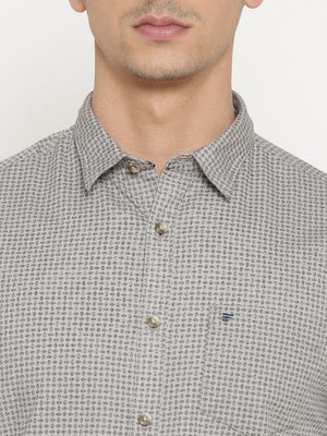 t-base GreySelf DesignCotton Casual Shirt