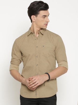 t-base KhakiSelf DesignCotton Casual Shirt