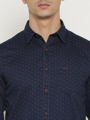 t-base Khaki Printed Cotton Casual Shirt