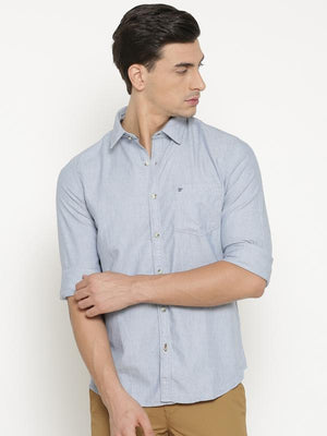 t-base Blue Solid Cotton Casual Shirt