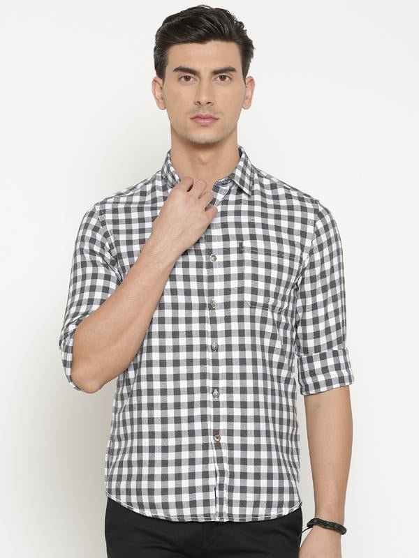 t-base Grey Checked Cotton Casual Shirt