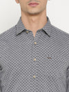 t-base Grey Self Design Cotton Casual Shirt
