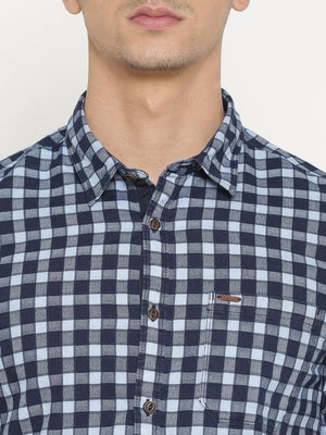 t-base Blue Checked Cotton Casual Shirt