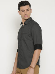 t-base Black Printed Cotton Casual Shirt