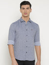 t-base Blue Printed Cotton Casual Shirt