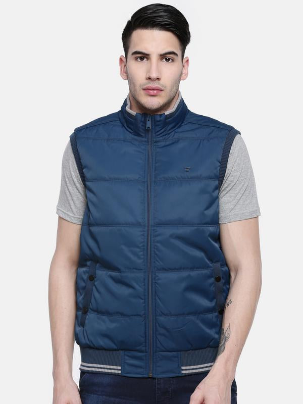 t-base Blue Sleeveless Padded Jacket