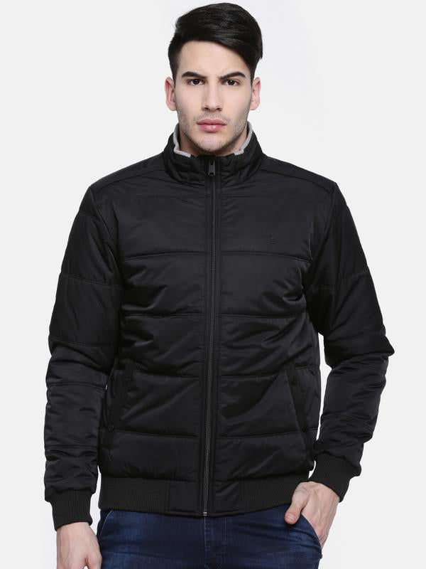 t-base Black Solid Quilted Bomber Jacket