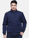 t-base Blue Solid Quilted Bomber Jacket