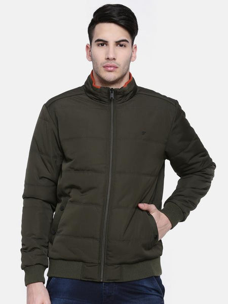 t-base Olive Solid Quilted Bomber Jacket