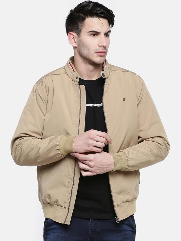 t-base Beige Solid Sporty Jacket