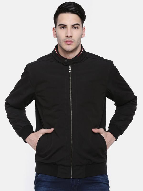 t-base Black Solid Sporty Jacket