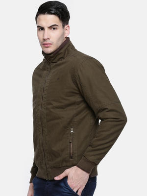 t-base Olive Solid Bomber Jacket