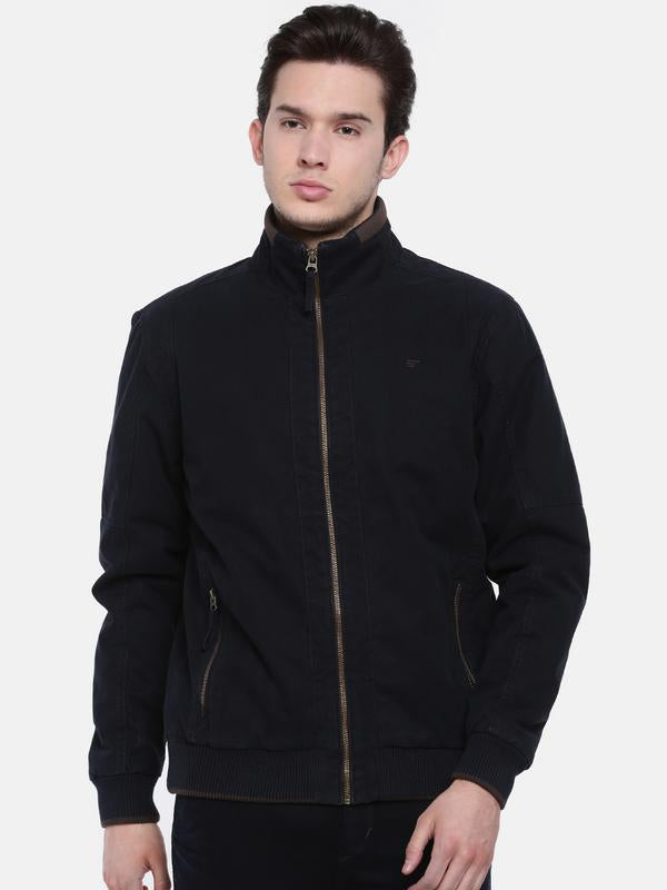 t-base Navy Solid Bomber Jacket